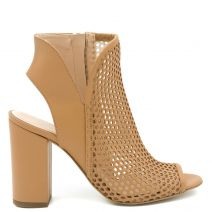 Tobacco leather peep toe bootie