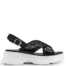 Black slide sandal with sequins