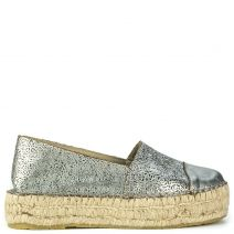 Pewter leather espadrille
