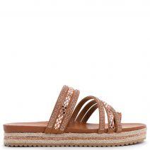 Flatform slide sandal in camel with rhinestones
