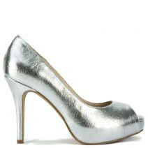 Silver peep toe pump