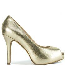 Χρυσή peep toe γόβα