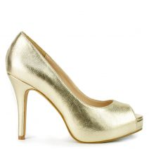 Gold peep toe pump