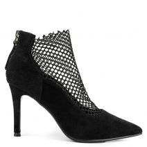 Black high heel bootie with mesh