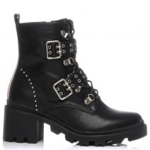 Black army boot with belts