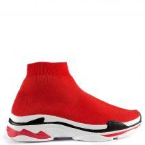 Κόκκικο υφασμάτινο ελαστικό sneaker