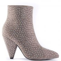 Grey bootie with rhinestones