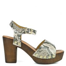 Beige snakeskin leather sandal