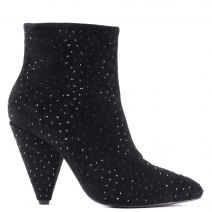 Black bootie with rhinestones