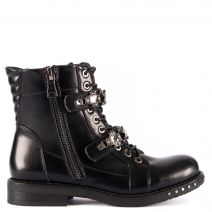 Black army boot with stones