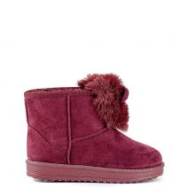 Kid's burgundy cosy boots with faux fur