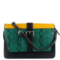 Color-block handbag with green snake