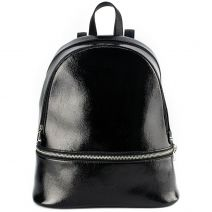 Black patent textured backpack