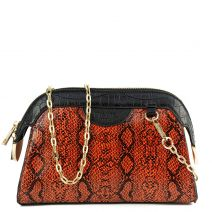 Orange snakeskin shoulder bag