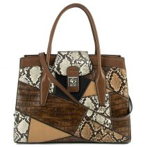 Brown animal print patchwork handbag