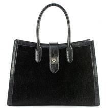 Black pony-hair handbag