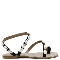 Brown flat sandal with shells