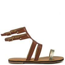 Tobacco multistrap gladiator sandal
