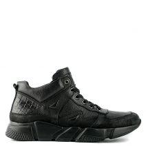 Ανδρικό μαύρο δερμάτινο αθλητικό παπούτσι