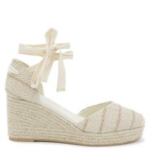 Beige lace up espadrille