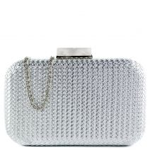 Silver woven look clutch