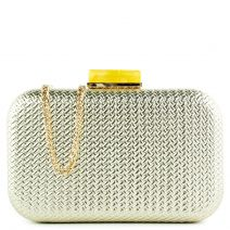 Gold woven look clutch