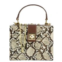 Beige snake mini box bag