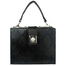 Black snake mini box bag