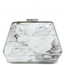 White marble print clutch