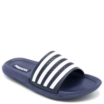 Kid's navy slides with decorative stripes on band