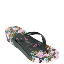 Black flip flop with decorative print