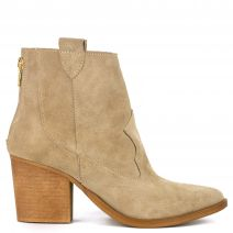 Beige leather Western bootie