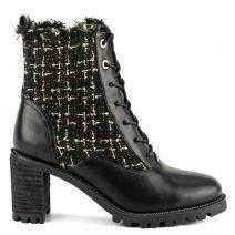 Black tweed high heel bootie