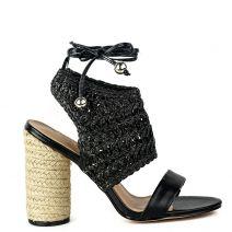 Black knitted high heel sandal