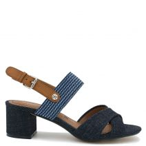 Blue sandal with cross straps