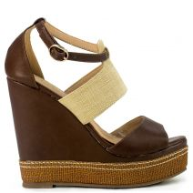 Brown fabric platform