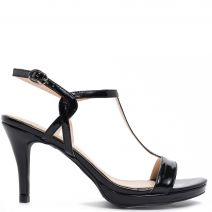 Black T-strap sandal in patent