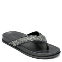 Women's pewter flip-flop with glitter thong