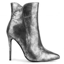 Metallic pewter high heel bootie