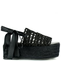 Black lace up wedge