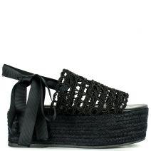 Μαύρη lace up πλατφόρμα