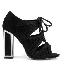 Μαύρο ψηλοτάκουνο peep toe μποτάκι
