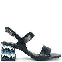 Black sandal with rhinestones
