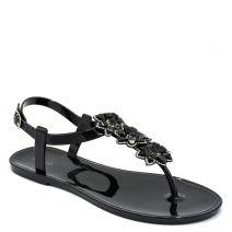 Women's black sandal with flowers