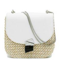Ψάθινη τσάντα με λευκό καπάκι