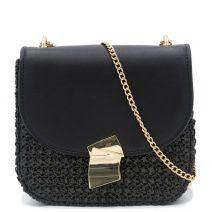 Ψάθινη τσάντα με μαύρο καπάκι