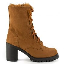 Tobacco high heel army boot