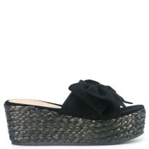 Black wedge with bow