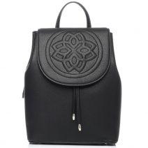 Μαύρη τσάντα πλάτης με καπάκι