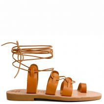 Beige Grecious leather lace-up sandal